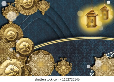 islamic arabic ornament lantern kabba design paper cutting style greeting card banner background
