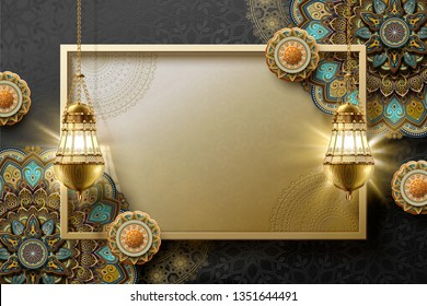 Islamic art background with arabesque and hanging lanterns in golden tone