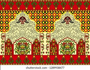 Islamic art, Floral Border Unique Pashmina Shawl Print Design For Textile And Digital.
