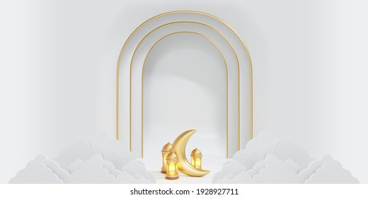 islamic banner with lantern, moon, and white background design 3d illustration