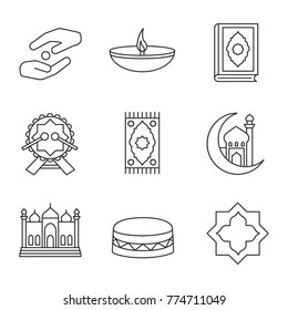 Islamic culture linear icons set. Zakat, oil lamp, quran book, daf, praying mat, mosque and crescent moon, islamic star. Thin line contour symbols. Isolated raster outline illustrations
