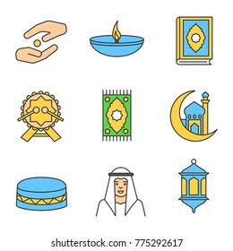Islamic culture linear icons set. Zakat, oil lamp, quran book, daf, praying mat, mosque and crescent moon, muslim man, lantern. Thin line outline symbols. Raster illustrations