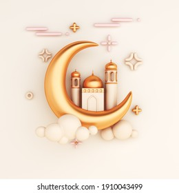 Islamic decoration background with crescent moon mosque, cartoon style, ramadan kareem, mawlid, iftar, isra  miraj, eid al fitr adha, muharram, copy space text area, 3D illustration.