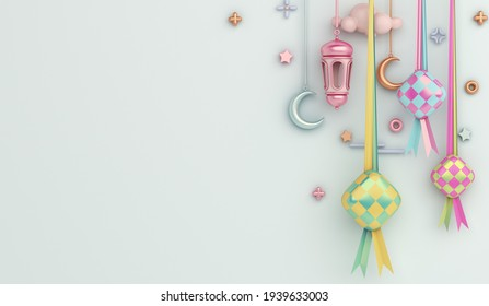Islamic decoration background with ketupat, lantern and crescent cartoon style, ramadan kareem, eid al fitr, copy space text area, 3D illustration.