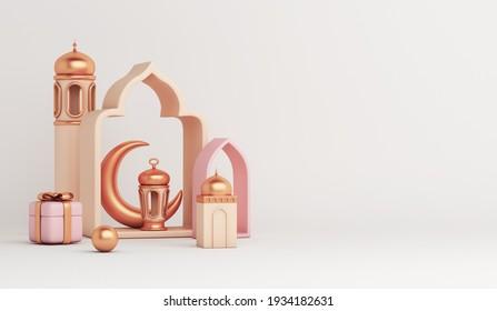 Islamic decoration background with mosque, lantern, crescent, gift box, window cartoon style, ramadan kareem, mawlid, iftar, isra  miraj, eid al fitr adha, muharram, copy space text, 3D illustration.