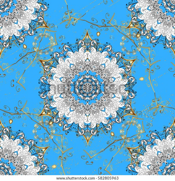 Islamic design. Golden pattern on blue background with golden elements. Floral tiles. Golden textile print. Pattern oriental ornament.