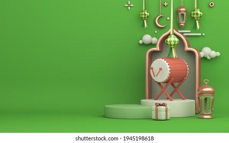 Islamic display podium decoration background with bedug drum ketupat lantern crescent cartoon style, ramadan kareem, mawlid, iftar, isra  miraj, eid al fitr adha, muharram, copy space, 3D illustration