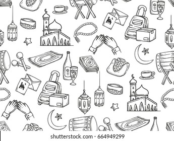 Islamic doodle background, suitable for ramadan or Eid al fitr