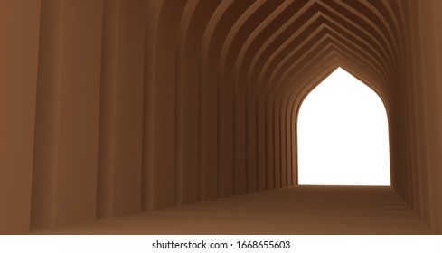 Islamic gate tunnel background 3D rendering