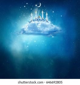 Islamic greeting  Eid Mubarak cards for Muslim Holidays.Eid-Ul-Adha festival celebration . Ramadan Kareem background with mosque in sky