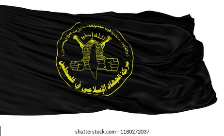 Islamic Jihad Movement In Palestine Flag, Isolated On White Background, 3D Rendering