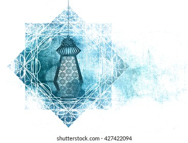 Islamic muslim holiday background or greeting card, with ornamental arabic oriental calligraphy, and eid holiday lanterns fanous, abstract artistic color splash grunge Ramadan or Eid background
