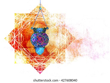 Islamic muslim holiday background or greeting card, with ornamental arabic oriental calligraphy, and eid holiday lanterns famous, abstract artistic color splash grunge Ramadan or Eid background