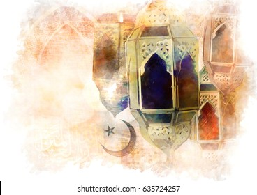 Islamic muslim holiday Ramadan Eid background with eid lanterns or lamps and arabic oriental windows
