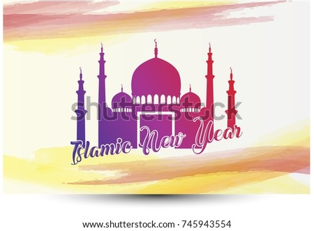 islamic new year greeting card with mosque