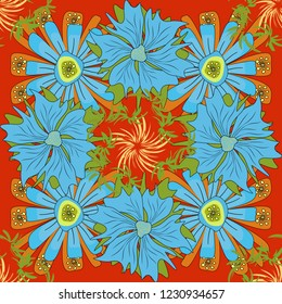Islamic oriental background with abstract flowers. Floral textile print. Seamless pattern morrocan ornament. Green, blue and orange stained glass vitrage.