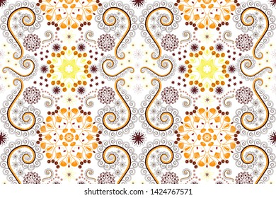 Islamic oriental background with abstract flowers. Yellow, white and brown stained glass vitrage. Seamless pattern morrocan ornament. Floral textile print.
