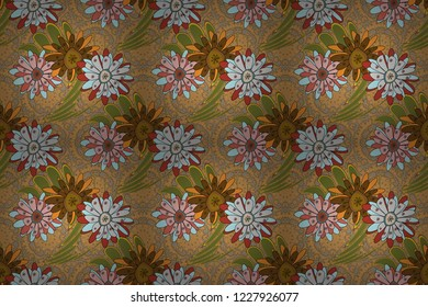 Islamic raster oriental background with abstract flowers. Seamless pattern morrocan ornament. Gray, green and orange stained glass vitrage. Floral textile print.