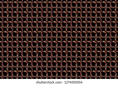 Islamic raster oriental background with abstract flowers. Floral textile print. Seamless pattern morrocan ornament. Brown, gray and black stained glass vitrage.