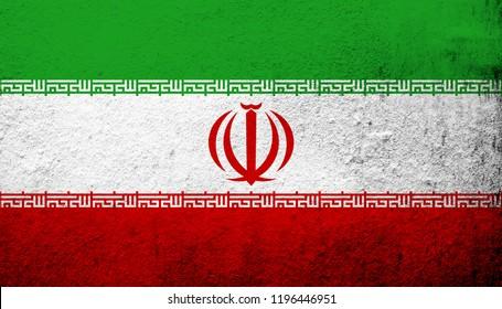 The Islamic Republic of Iran (Persia) National flag. Grunge background
