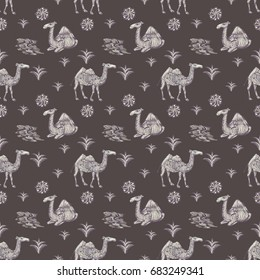 Islamic seamless pattern with the image of camels and mountains. Blue camel pattern seamless background in sketching style repeat illustration. Seamless pattern with camel image. Desert.