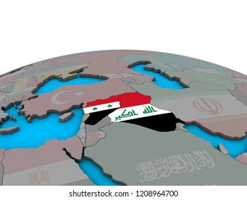Islamic State with embedded national flags on political 3D globe. 3D illustration.