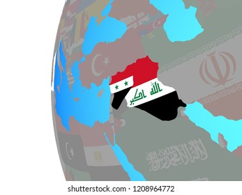 Islamic State with embedded national flags on blue political globe. 3D illustration.