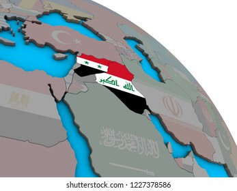 Islamic State with embedded national flags on simple blue political 3D globe. 3D illustration.