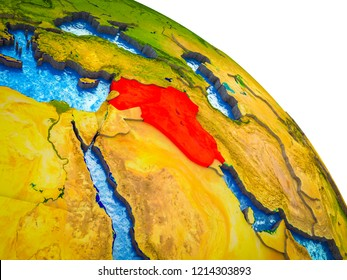 Islamic State Highlighted on 3D Earth model with water and visible country borders. 3D illustration.