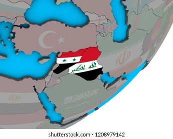 Islamic State with national flags on blue political 3D globe. 3D illustration.