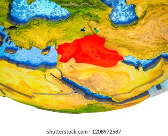 Islamic State on 3D Earth with divided countries and watery oceans. 3D illustration.
