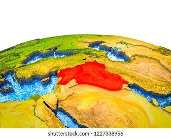 Islamic State on 3D Earth with visible countries and blue oceans with waves. 3D illustration.