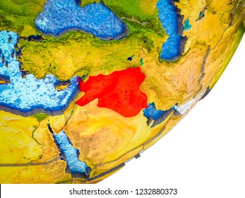 Islamic State on 3D model of Earth with water and divided countries. 3D illustration.