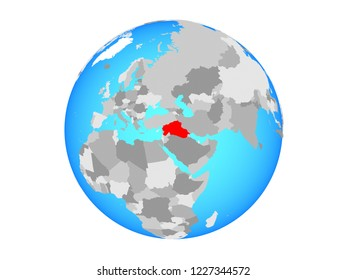 Islamic State on blue political globe. 3D illustration isolated on white background.