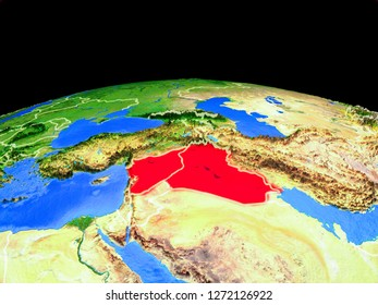 Islamic State on model of planet Earth with country borders and very detailed planet surface. 3D illustration. Elements of this image furnished by NASA.