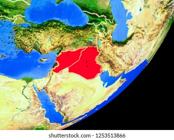 Islamic State on planet Earth with country borders and highly detailed planet surface. 3D illustration. Elements of this image furnished by NASA.