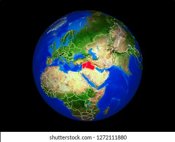 Islamic State on planet planet Earth with country borders. Extremely detailed planet surface. 3D illustration. Elements of this image furnished by NASA.