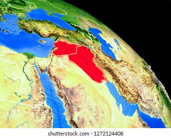 Islamic State on planet Earth from space with country borders. Very fine detail of planet surface. 3D illustration. Elements of this image furnished by NASA.