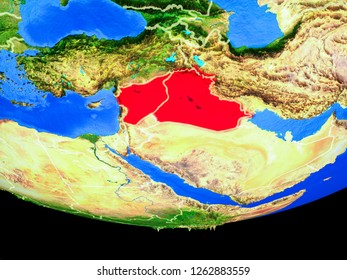 Islamic State from space on model of planet Earth with country borders. 3D illustration. Elements of this image furnished by NASA.
