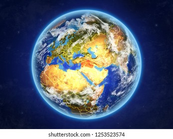 Islamic State from space. Planet Earth with country borders and extremely high detail of planet surface and clouds. 3D illustration. Elements of this image furnished by NASA.