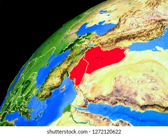 Islamic State from space. Planet Earth with country borders and extremely high detail of planet surface. 3D illustration. Elements of this image furnished by NASA.