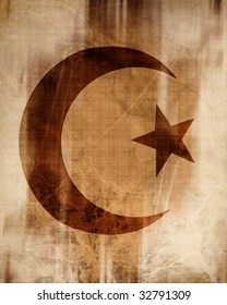 islamic symbol on an old paper background
