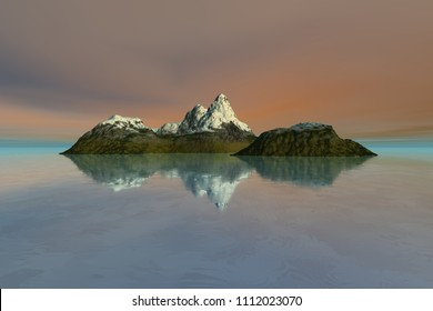 Island, 3d rendering, a mediterranean landscape, snow on the peak, reflection in the sea and a cloudy sky.