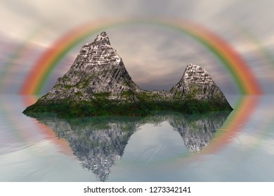 Island, 3d rendering, a mediterranean landscape, rocks and grass on the ground, snow on the peak and rainbow in the sky.