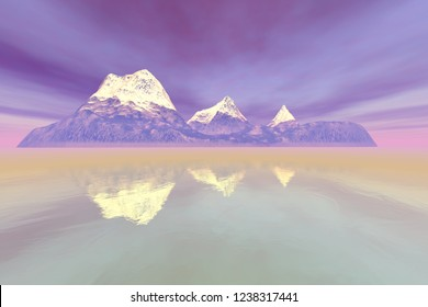 Island, 3d rendering, a natural landscape, snowy mountain peaks, fog on the lake and red clouds in the sky.