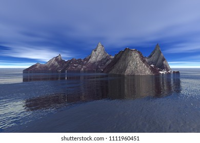 Island, 3d rendering, a rocky landscape, reflection on water and clouds in the blue sky.