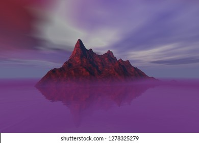 Island, 3d rendering a rocky landscape, pink fog on the water, reflection on water, and a cloudy sky.