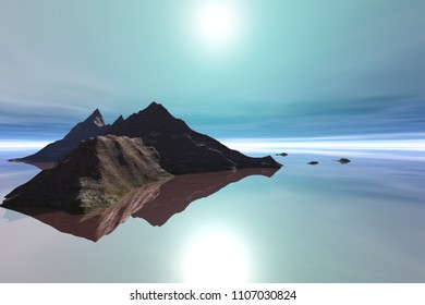 Island, 3d rendering,, a tropical landscape, reflection in the sea and a bright sun in the sky.