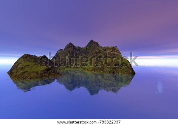 Island, 3D rendering, a tropical landscape, grass on the ground and reflection in the sea.
