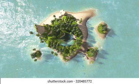 island of beautiful sea top view render illustrations